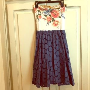 Scrapbook Orginals Strapless Floral Dress Small